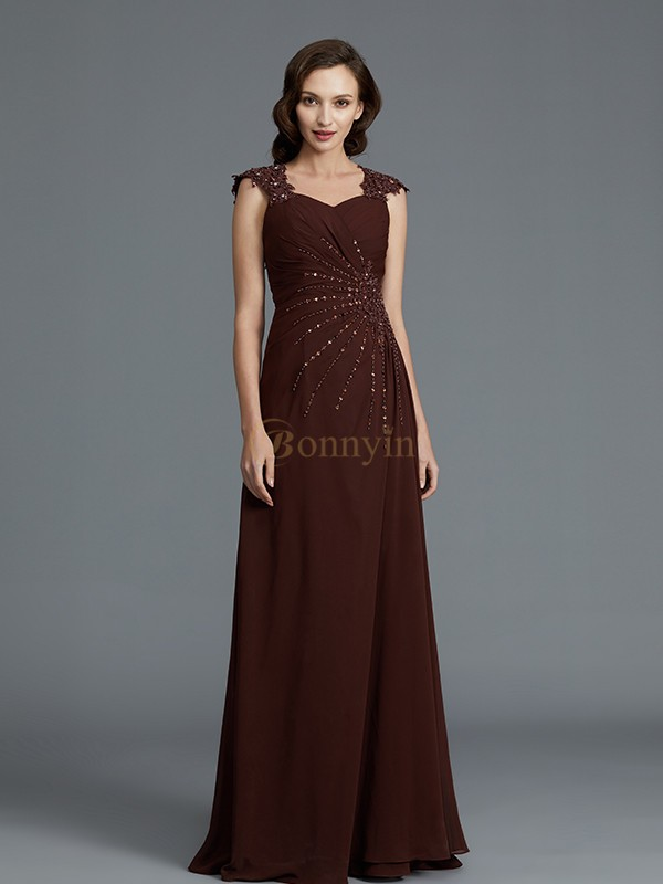 Chocolate Chiffon Sweetheart A-Line/Princess Floor-Length Mother of the Bride Dresses