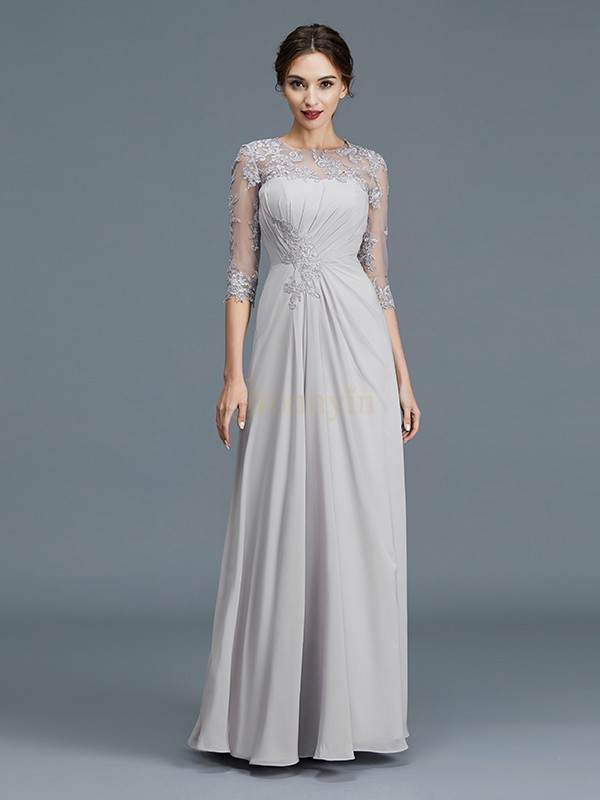 Silver Chiffon Scoop A-Line/Princess Floor-Length Mother of the Bride Dresses