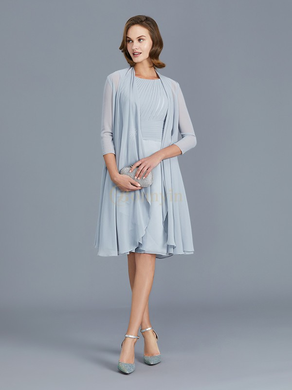 Silver Chiffon Scoop A-Line/Princess Knee-Length Mother of the Bride Dresses