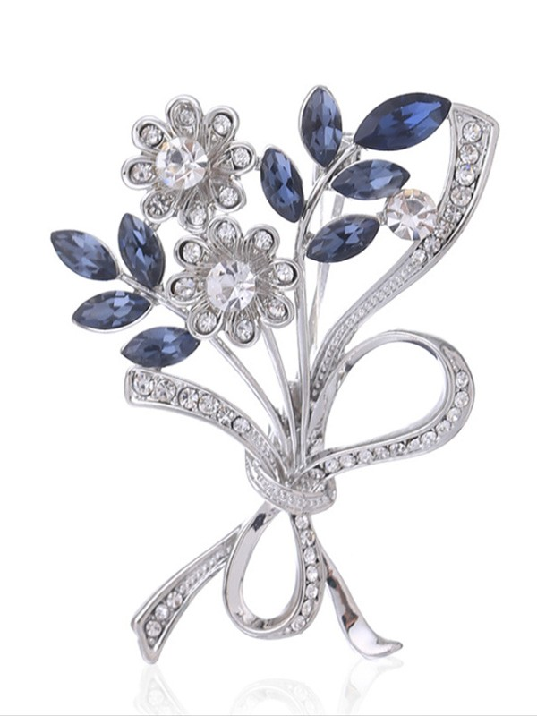 Graceful Alloy With Crystal Ladies Brooch