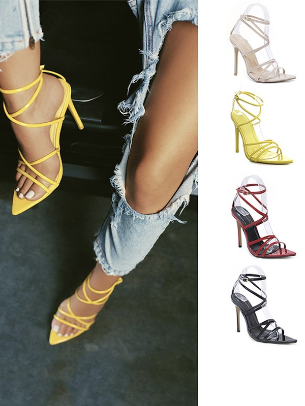 Women's Patent Leather Stiletto Heel Peep Toe With Buckle Sandals