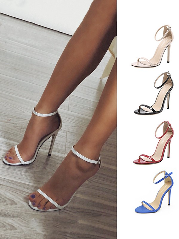 Women's PU Stiletto Heel Peep Toe With Buckle Sandals