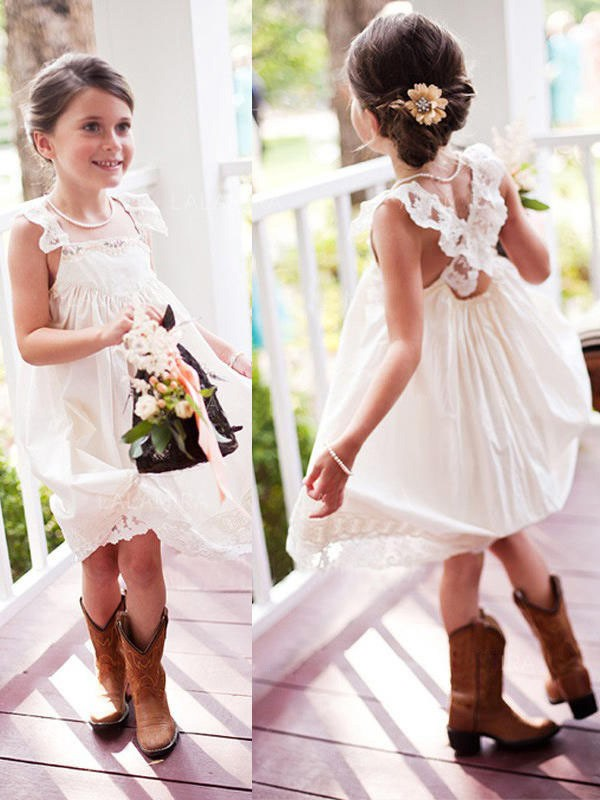 Ivory Chiffon Square A-Line/Princess Knee-Length Flower Girl Dresses