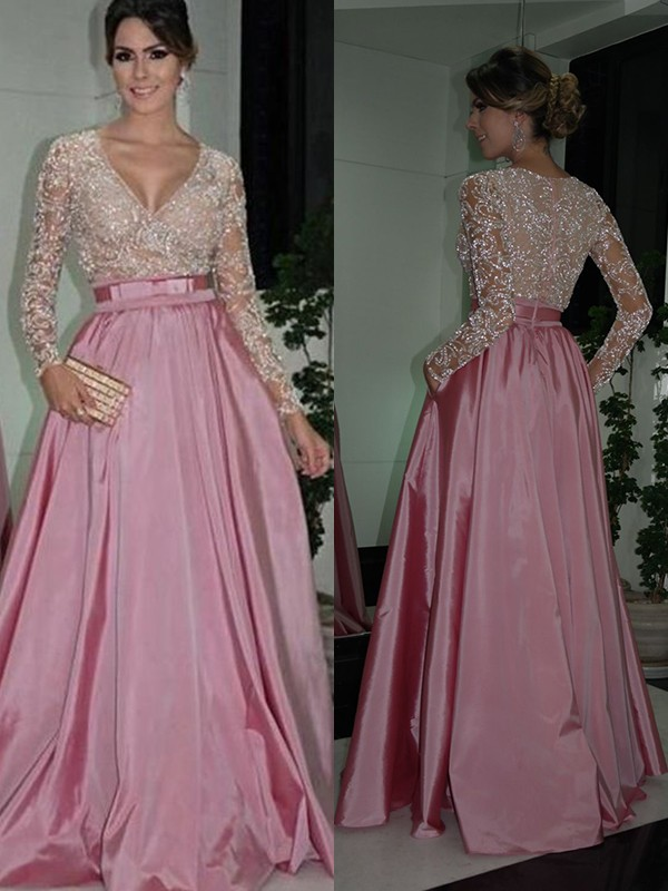 Pink Satin V-neck A-Line/Princess Floor-Length Dresses