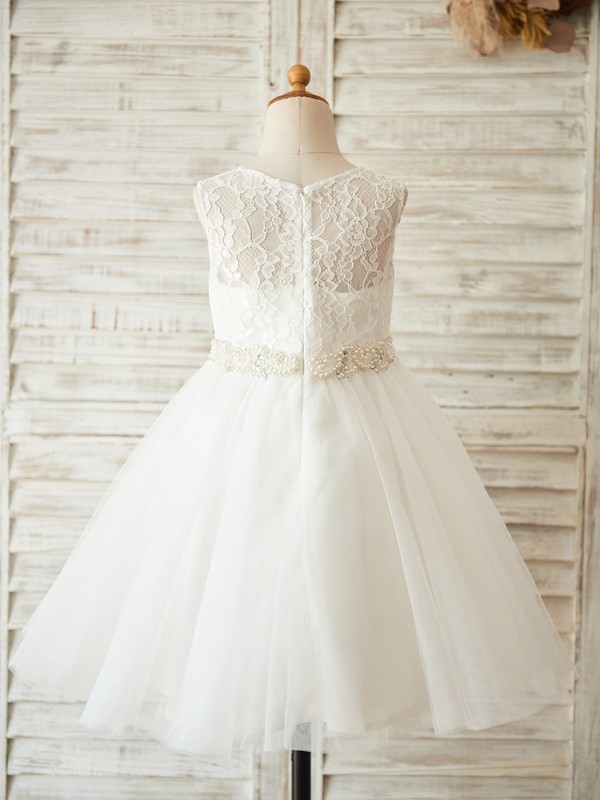White Tulle Scoop A-Line/Princess Knee-Length Flower Girl Dresses