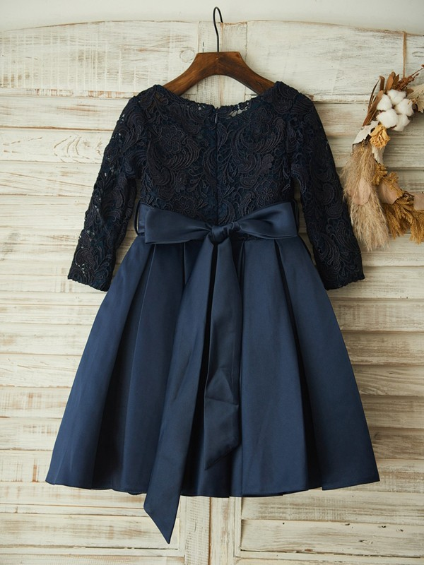 Dark Navy Lace Scoop A-Line/Princess Knee-Length Flower Girl Dresses