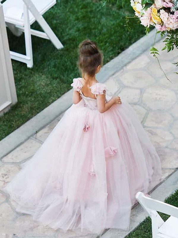 Pink Tulle Spaghetti Straps Ball Gown Sweep/Brush Train Flower Girl Dresses