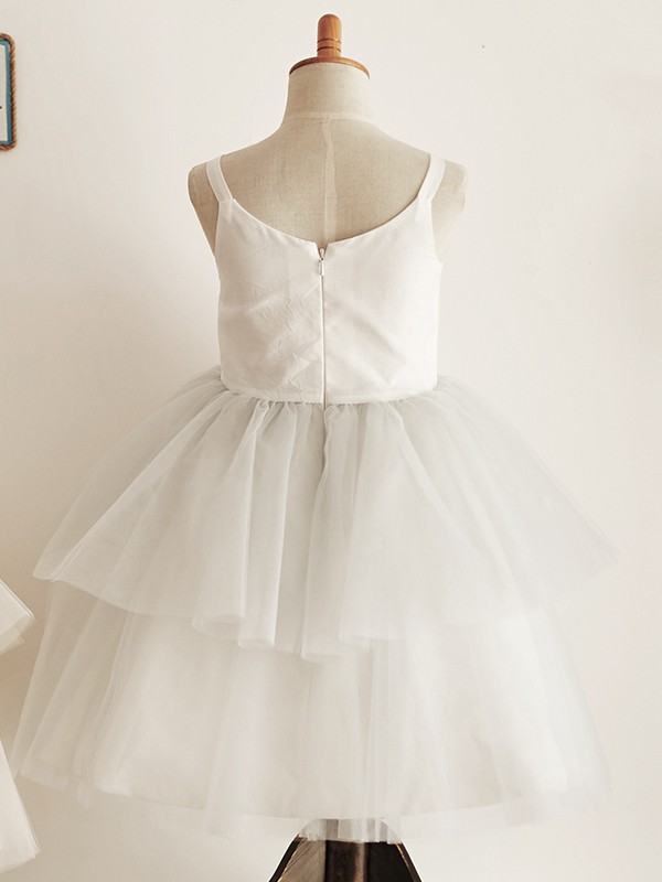 Grey Tulle Scoop A-Line/Princess Knee-Length Flower Girl Dresses