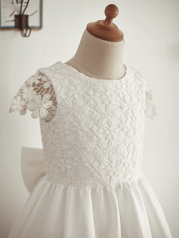 Ivory Lace Scoop A-Line/Princess Knee-Length Flower Girl Dresses