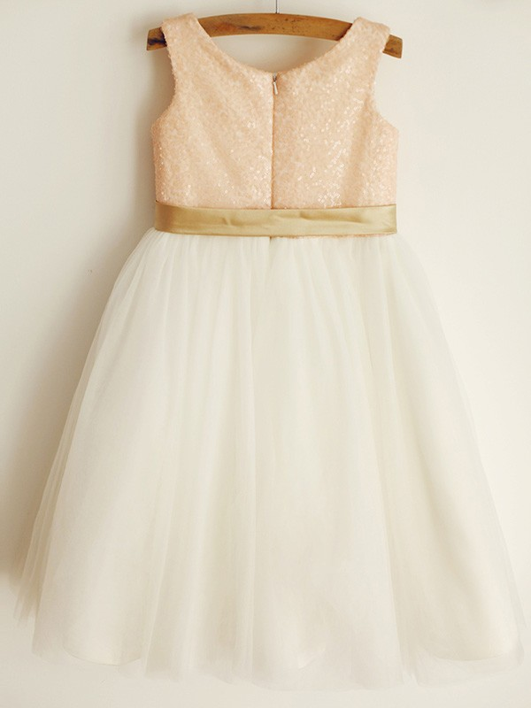 Pink Tulle Scoop A-Line/Princess Knee-Length Flower Girl Dresses