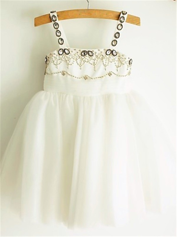 Tulle Spaghetti Straps A-line/Princess Tea-Length Flower Girl Dresses