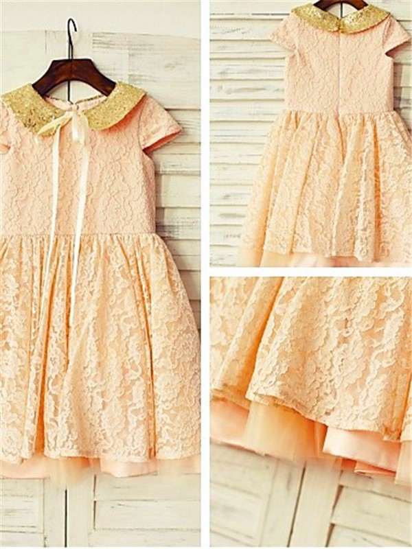 Pink Lace Scoop A-line/Princess Tea-Length Flower Girl Dresses
