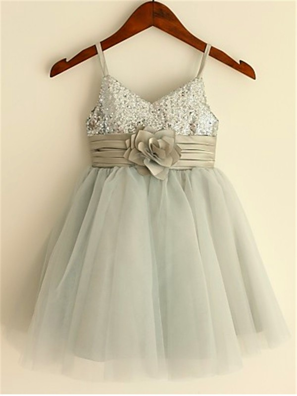 Silver Tulle Spaghetti Straps A-line/Princess Tea-Length Flower Girl Dresses
