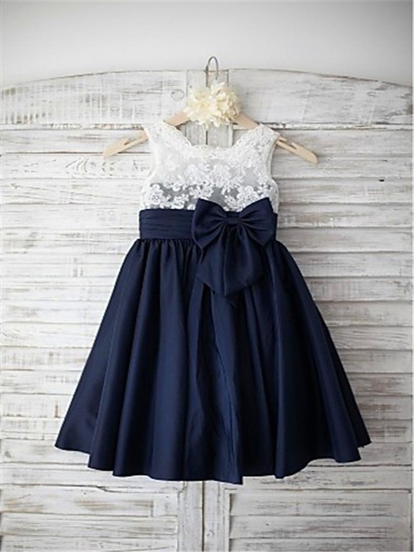 Dark Navy Taffeta Straps A-line/Princess Tea-Length Flower Girl Dresses
