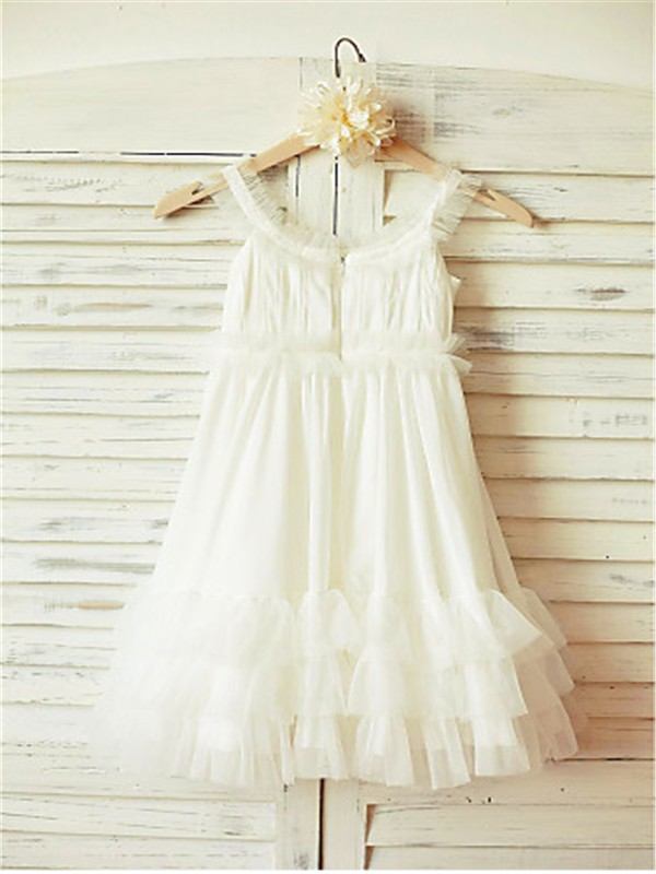White Chiffon Straps A-line/Princess Tea-Length Flower Girl Dresses