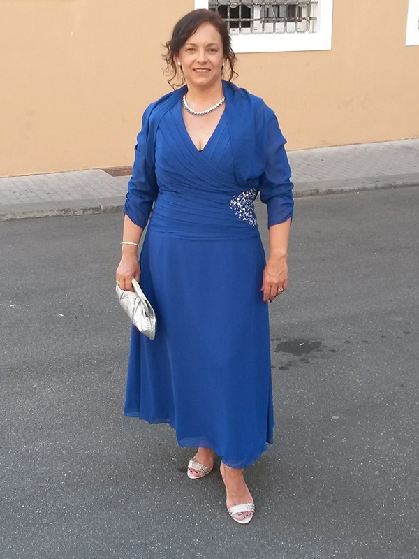 Royal Blue Satin Chiffon V-neck A-Line/Princess Ankle-Length Mother of the Bride Dresses