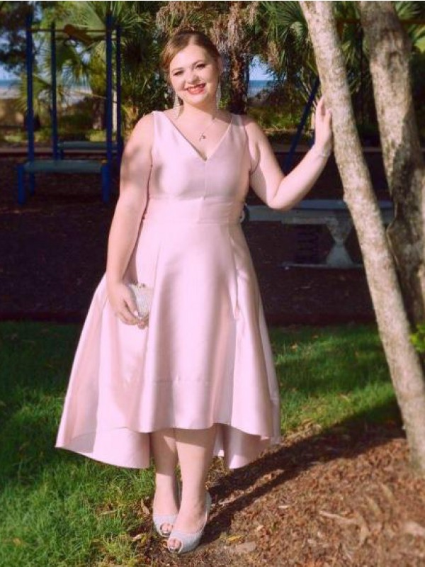 Pink Satin V-neck A-Line/Princess Asymmetrical Plus Size Dresses