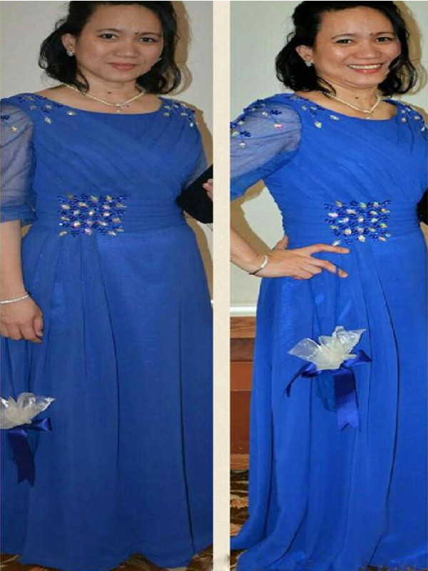 Royal Blue Chiffon Scoop Sheath/Column Floor-Length Mother of the Bride Dresses