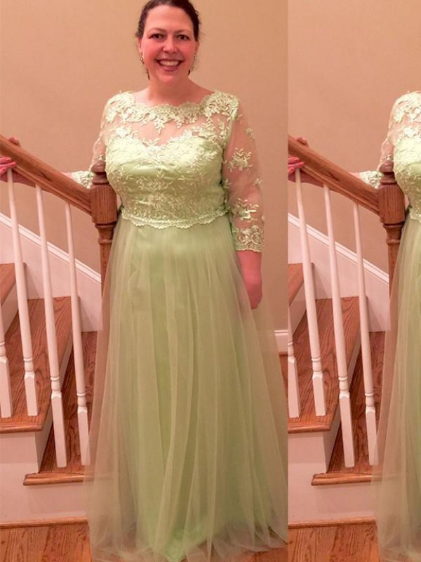 Sage Tulle Sheer Neck A-Line/Princess Floor-Length Mother of the Bride Dresses
