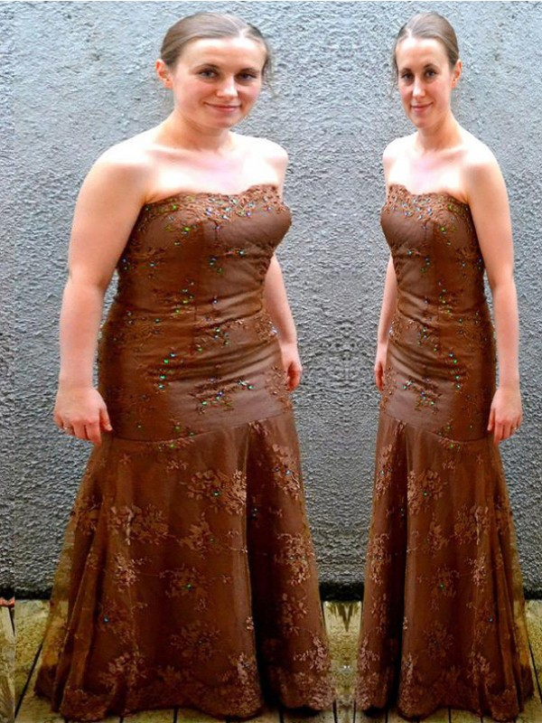 Brown Lace Strapless Sheath/Column Floor-Length Mother of the Bride Dresses