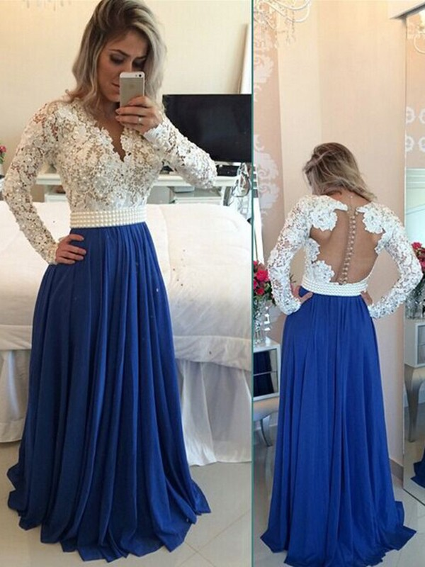 Royal Blue Chiffon V-neck A-Line/Princess Floor-Length Prom Dresses