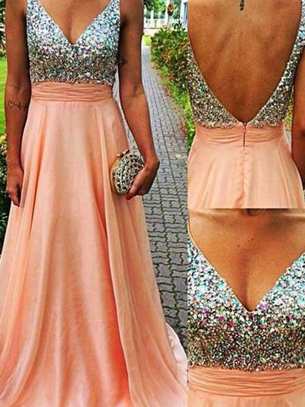 Orange Chiffon V-Neck A-Line/Princess Sweep/Brush Train Prom Dresses