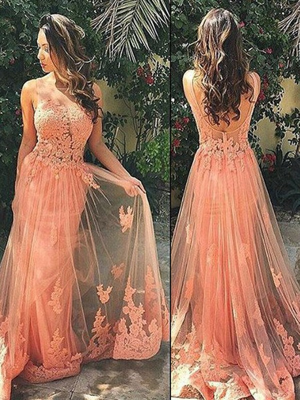 Orange Tulle Straps A-Line/Princess Sweep/Brush Train Prom Dresses