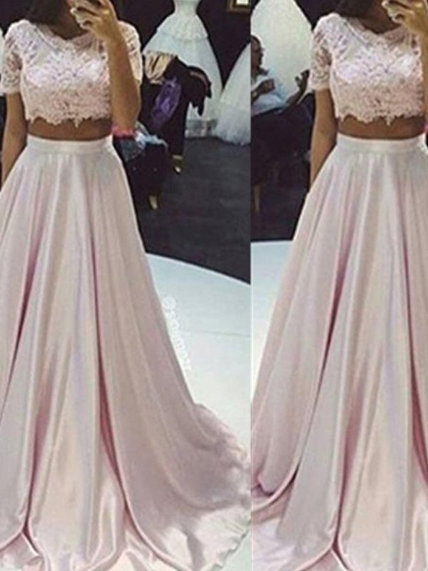 Pink Taffeta Scoop A-Line/Princess Floor-Length Prom Dresses