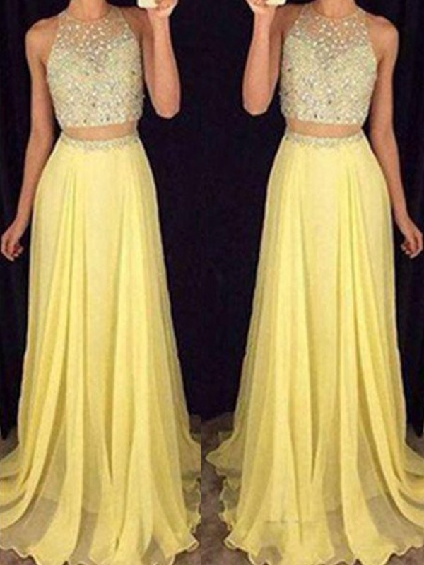 Daffodil Chiffon Scoop A-Line/Princess Sweep/Brush Train Prom Dresses