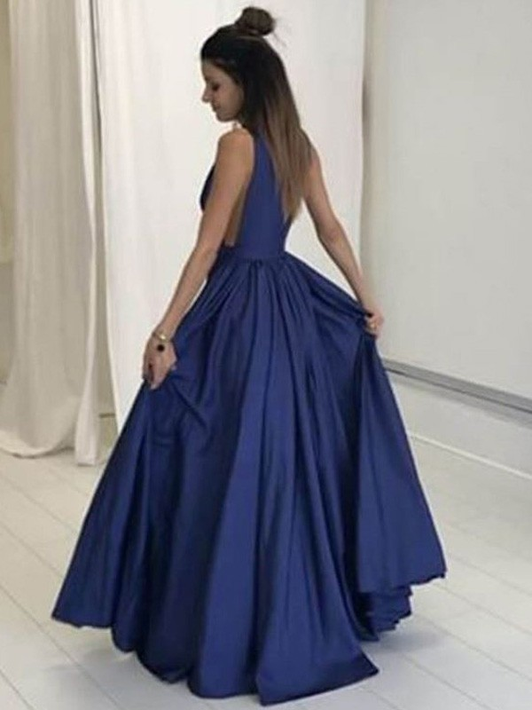 Dark Navy Taffeta V-neck A-Line/Princess Floor-Length Prom Dresses