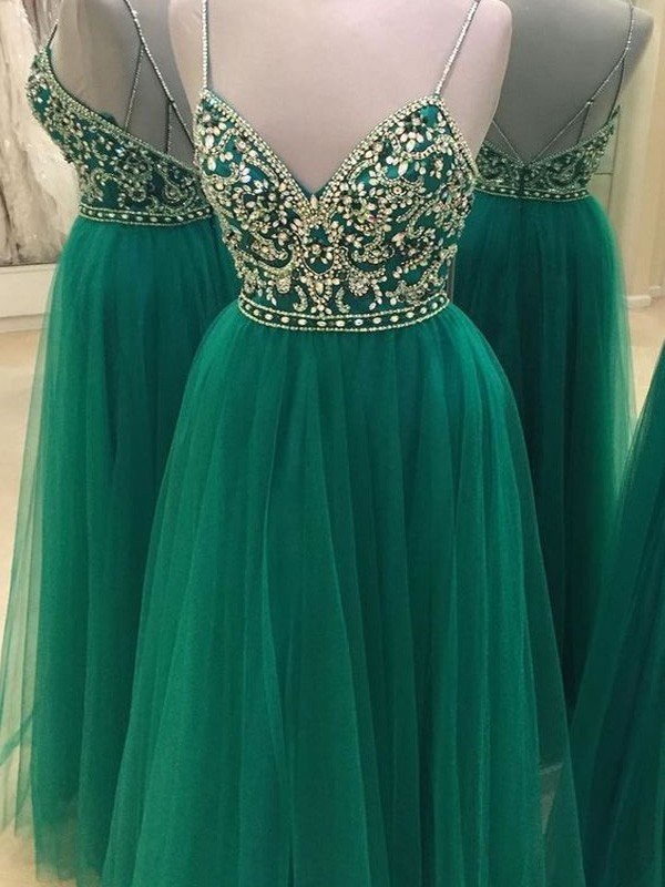 Green Tulle Spaghetti Straps A-Line/Princess Floor-Length Prom Dresses