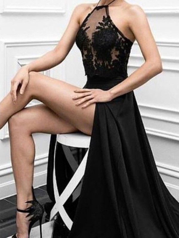Black Chiffon Halter A-Line/Princess Floor-Length Prom Dresses