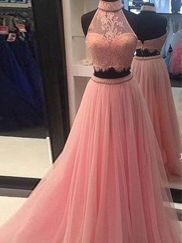 Pink Tulle High Neck A-Line/Princess Floor-Length Prom Dresses