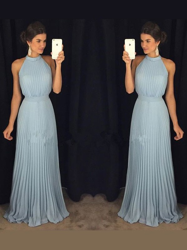 Light Sky Blue Chiffon High Neck A-Line/Princess Floor-Length Prom Dresses