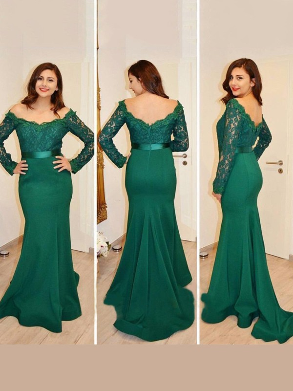 Green Satin Off-the-Shoulder Trumpet/Mermaid Floor-Length Prom Dresses