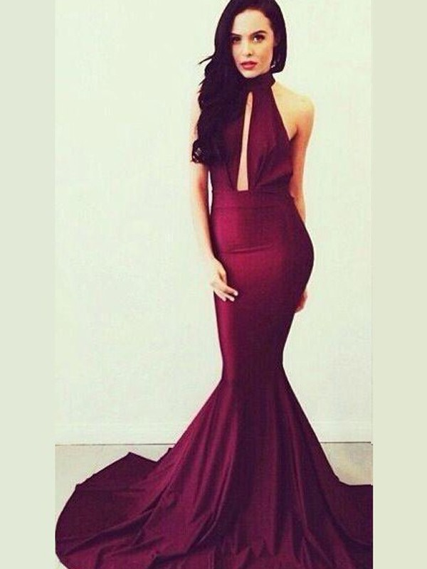 Jersey High Neck Trumpet/Mermaid Floor-Length Prom Dresses
