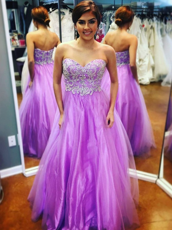 Lilac Tulle Sweetheart A-Line/Princess Floor-Length Prom Dresses