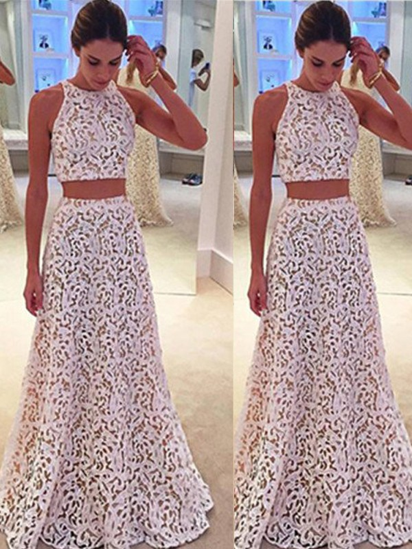 Ivory Lace Scoop A-Line/Princess Floor-Length Prom Dresses