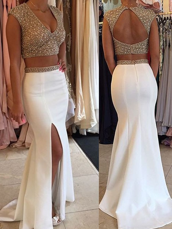 White Satin V-Neck Trumpet/Mermaid Sweep/Brush Train Prom Dresses