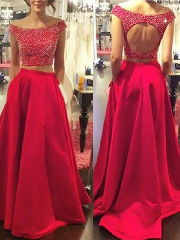 Red Satin Bateau A-Line/Princess Sweep/Brush Train Prom Dresses