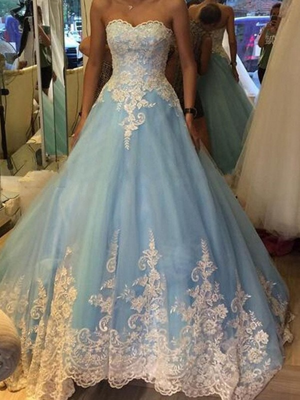 Blue Tulle Sweetheart Ball Gown Sweep/Brush Train Prom Dresses