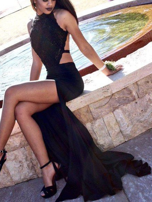 Black Jersey Halter Sheath/Column Sweep/Brush Train Prom Dresses