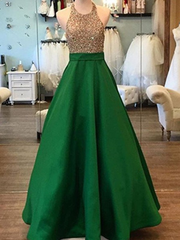 Green Satin Halter A-Line/Princess Floor-Length Prom Dresses