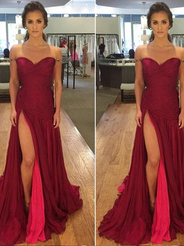 Burgundy Chiffon Off-the-Shoulder A-Line/Princess Floor-Length Prom Dresses
