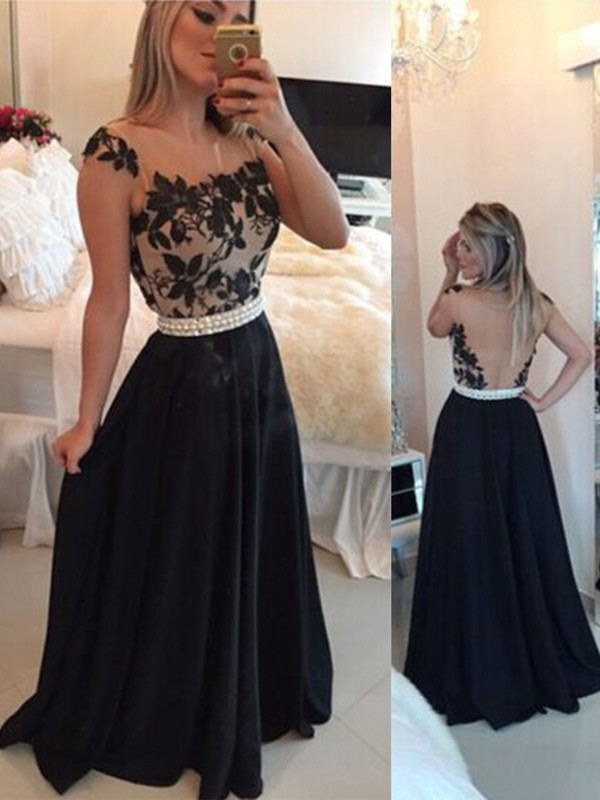 Black Chiffon Sheer Neck A-Line/Princess Sweep/Brush Train Dresses