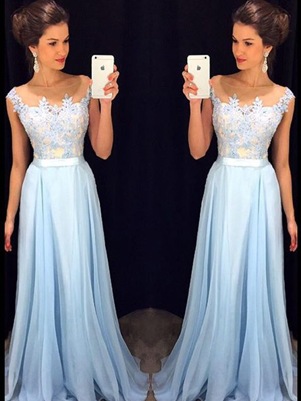 Blue Chiffon Sheer Neck A-Line/Princess Sweep/Brush Train Dresses