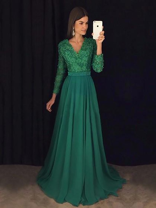 Dark Green Chiffon V-Neck A-Line/Princess Sweep/Brush Train Dresses
