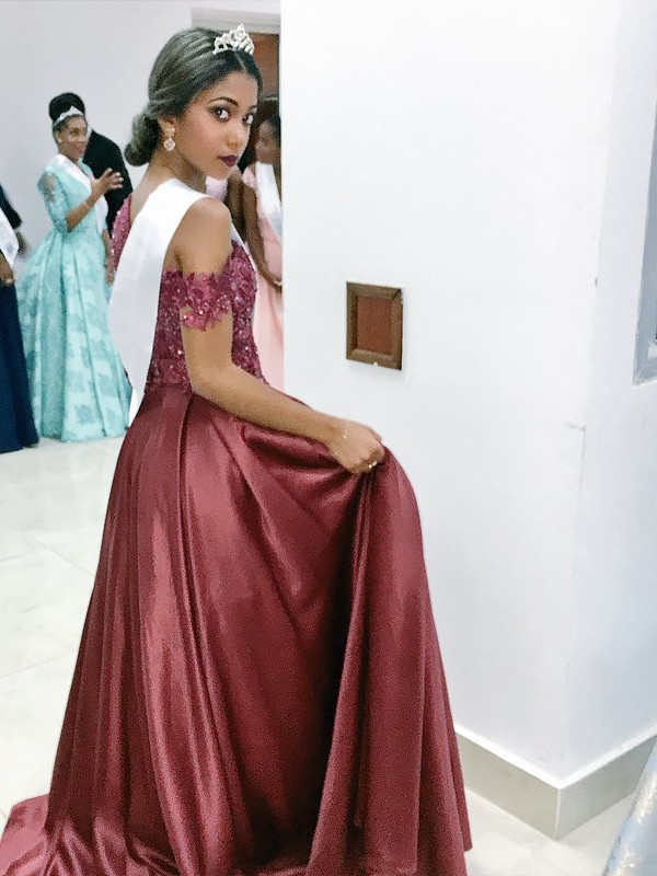 Burgundy Satin Off-the-Shoulder A-Line/Princess Floor-Length Dresses