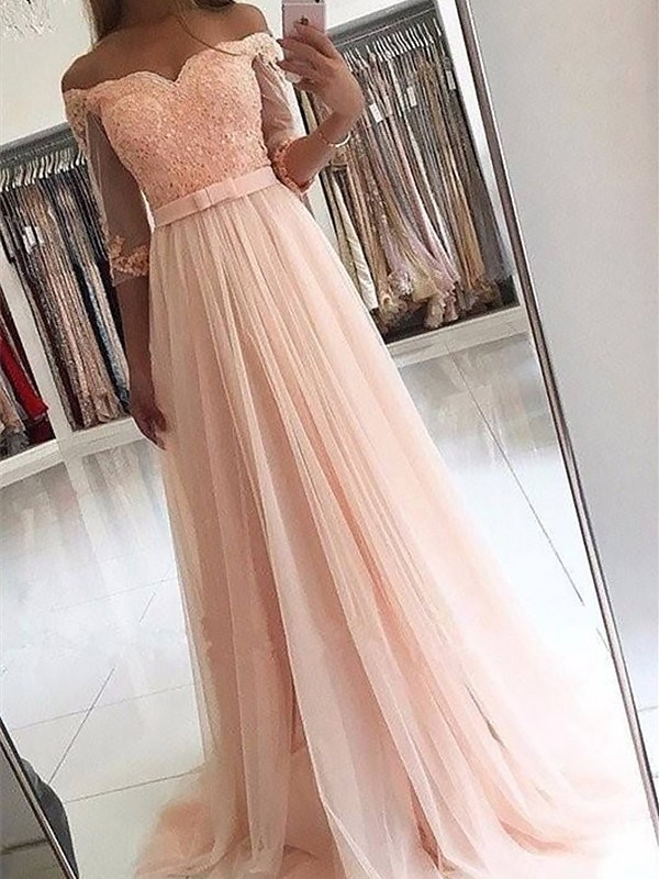 Pink Tulle Off-the-Shoulder A-Line/Princess Sweep/Brush Train Dresses