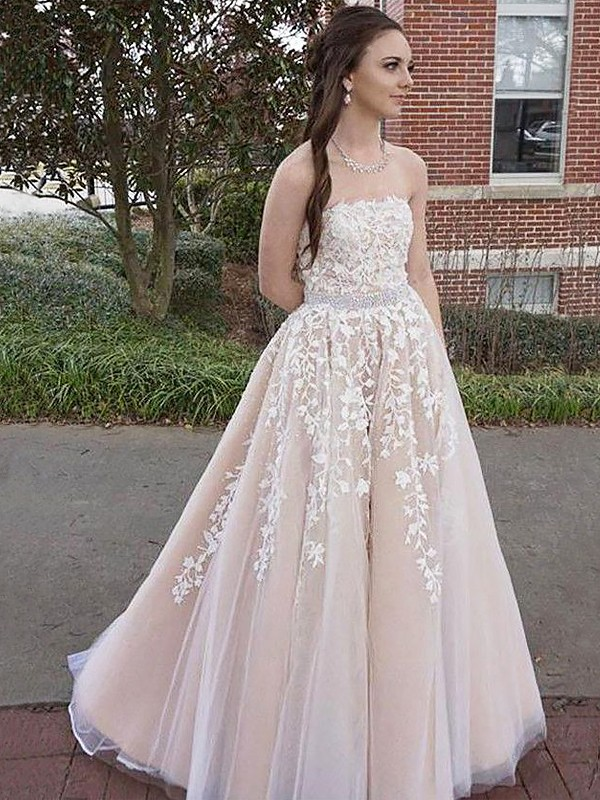 Champagne Tulle Strapless A-Line/Princess Floor-Length Dresses